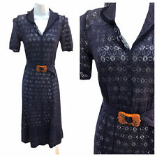 Vintage VTG 1930s 30s Navy Lace Sheer Day Dress with Brown Bakelite Belt