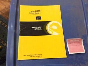 JOHN DEERE 21 INCH WALK-BEHIND OMTY20718 ROTARY-MOWERS OPERATORS MANUAL
