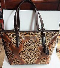 BRAHMIN Medium Asher Brown Fresco Damask Leather Tote Bag Tassel Tooled Leather
