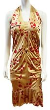 NEW YVES SAINT LAURENT YSL RAYON GOLD HEART HALTER DRESS M RED BEIGE