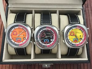 set of 3 SORNA automatic watches in collectors box
