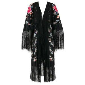 COUTURE c.1920's Black Hand Embroidered Silk Oriental Floral Fringe Kimono Robe
