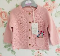 Boots Baby Girls Cardigan Mini Club Baby Pink Knitted Cotton Button Floral BNWT