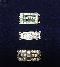 Antique Silver Clasps For Pearl Gemstone Necklaces Paste Diamonds & Emeralds
