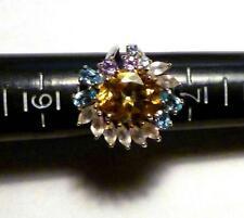 Genuine 12x10 mm GOLDEN YELLOW CITRINE, TOPAZ .925 SILVER RING SZ 7.75