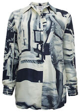 Ladies Womans Pure Silk Printed Shirt Blouse Black Grey 10 12 14 16 18 20 New