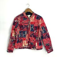 Christopher Banks Women's Red/Multi Paisley Patchwork Style Full Zip Jacket Sz M