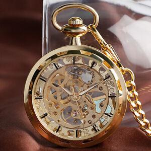 Vintage Steampunk Skeleton Mechanical Fob Pocket Watch Pendant Hand Winding