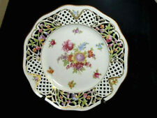 "Schumann Arzberg 10 3/8"" Reticulatted Plate Dresden Flowers Bavaria Germany"