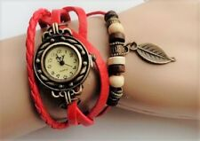 RED BRACELET WATCH * ADJUSTABLE STRAP BOHEMIA LEAF BEADS LEATHER WEAVE WRISTBAND