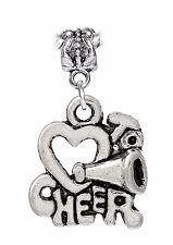 Cheerleader Heart I Love to Cheer Dangle Bead for Silver European Charm Bracelet