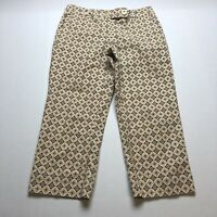 Talbots Sz 6P Brown Print Pattern Crop Capri Pants A375