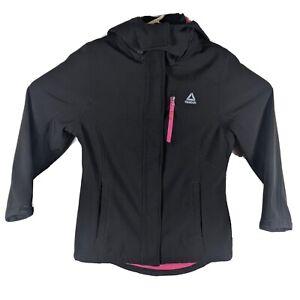 Womens Reebok Athletic Workout Zip-up Jacket Juniors Size XL Black Pink Crossfit