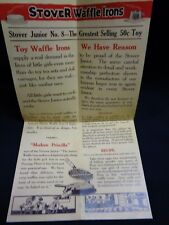 Color Copy of Original Vintage Brochure for Stover Junior 8 Toy Waffle Iron Htf