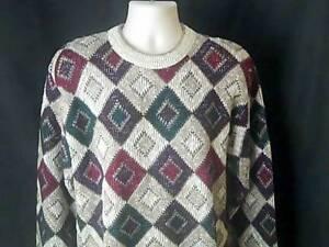 SHENANDOAH Vintage Mens L Winter Ski Sweater Multi Color