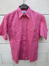 Chemise LACOSTE Devanlay rose 2 poches 38 manches courtes