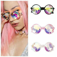 Round Glasses Kaleidoscope Eyewears Shine Crystal Lens Party Rave EDM Sunglasses