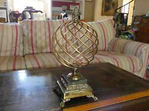 Maitland Smith Sphere Orb Globe Marble Base Footed Decor