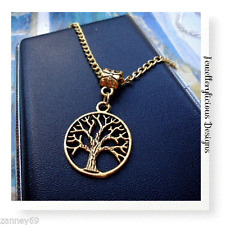 Yellow Gold Tree of Life Necklace Pendant Set 50cm Lovely Gift