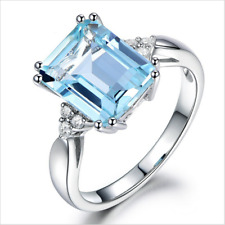 Fashion 18K White Gold Aquamarine CZ Engagement Rings Women Wedding Band Sz 6-10