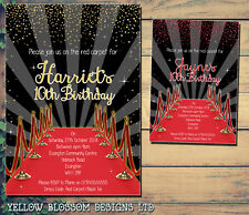 10 Personalised Birthday Party Invites Red Carpet School Ball Movies Celebrity