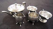 5 piece Pewter Tea Set including Tea Pot