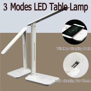Adjustable USB Desk LED Lamp Table QI Wireless Phone Charger Home Reading Light