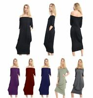 Womens Ladies Bardot Baggy Off Shoulder Oversized 2 Pocket Midi Parachute Dress