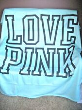 Victorias Secret Pink Stadium Blanket Throw thick silky  Jersey Knit Teal NWT