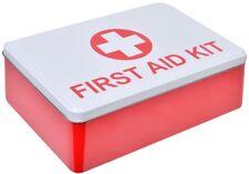 FIRST AID KIT SUPPLIES STORAGE SQUARE METAL RED WHITE TIN BOX CASE 20x13x5cm