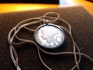 """1965 Austria Classic Maiden Cameo Proof Silver Coin Pendant w 28"""" Silver Chain."""
