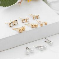 Fashion 9Pairs/Set Women Alloy Plastic Pearl Ear Stud Hot Charm Earrings Jewelry