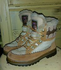 ARAPAHO PONY HAIR CALF FUR HIKING BOOTS BROWN 7 M LADIES YETI APRES AFTER SKI