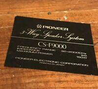 Vintage Pair Pioneer 3 Way Speaker System CS-F9000 Replacement Decal Sticker