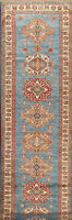 Geometric Super Kazak Oriental Runner Rug Hand-Knotted 12' 9'' X 2' 8'' Carpet