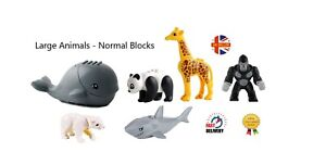 6 Animal Mini Figures Whale Gorilla Giraffe Bear Panda Shark Minifigure Fit Lego