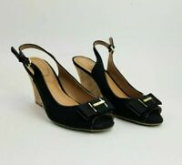 "Tommy Hilfiger Sz 9 Slingback Cork Wedge 3.5"" High Heel Open Toe Shoes Black"