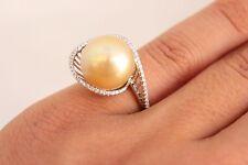 South Sea Gold Pearl 13.1MM 0.21ct Diamonds 18K White Gold Ring SZ 7