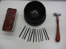 German Red Pitch & Bowl Hammer 12 Chasing Tools Goldsmith Silversmith Repousse