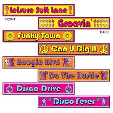 *4 Funky 70's DISCO Street Sign DIE-CUTS*Decorations*SATURDAY NIGHT FEVER Party*