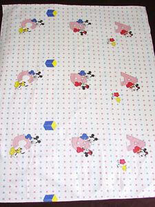 VTG 80s Disney Mickey Minnies Alphabet Flannel Crib Baby Sheets Bedding Blanket
