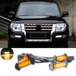 6P Front Grille LED Lights Raptor Style Grill Cover For Mitsubishi Pajero V97 93