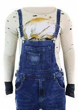 Mens Slim Fit Ripped Indigo Washed Blue Dungarees Vintage Retro Jeans