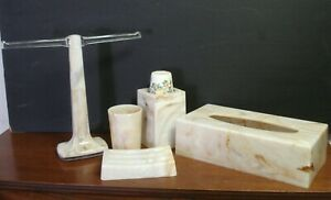 vtg Faux Marble Tissue Box Holder cup Dispenser hand towel stand drinking cup