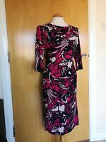 Ladies JASPER CONRAN Dress Size 14 Black Pink Wiggle Stretch Party Evening