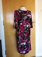 Ladies JASPER CONRAN Dress Size 14 Black Pink Wiggle Stretch Party Evening