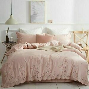 Egyptian Cotton Bedding Set Luxury Green Pink Duvet Cover Fitted Bedsheet Set
