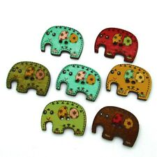 Pack of 5 Cartoon Elephants Decorative Wooden Buttons 24mm - Scrapbooking/Sewing