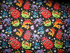 "David Textiles Monster Party Bright Neon ""Monsters"" Black Cotton 3 3/4 Yds New"