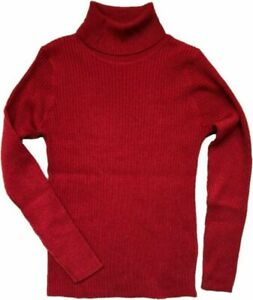 NEXT Red Girls Warm Knitted Ribbed Polo Neck Roll Neck Jumper top Sweater 3/16